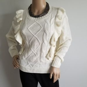 LUCCA COUTURE CREAM CABLE RIBBED RUFFLE SWEATER S